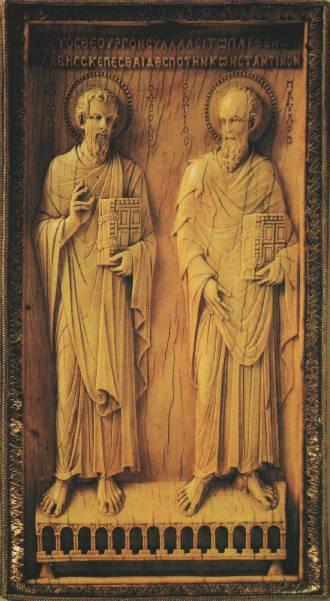 Рельефная плитка с изображением апостолов Петра и Павла. Византия, середина 10 века. Слоновая кость, серебро