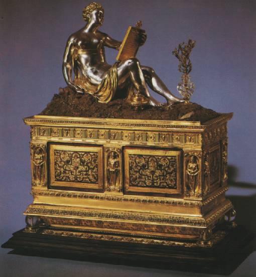 Шкатулка с чернильным прибором. Нюрнберг, 1562 год. Серебро, эмаль, горный хрусталь, эбеновое дерево