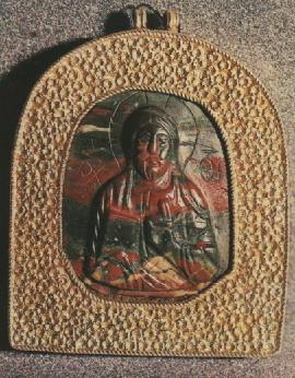 Каменная иконка. 12 век. Резной камень в серебряной оправе